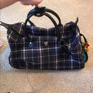 Handbags - NEED GONE Plaid Ruffle Roller Bag